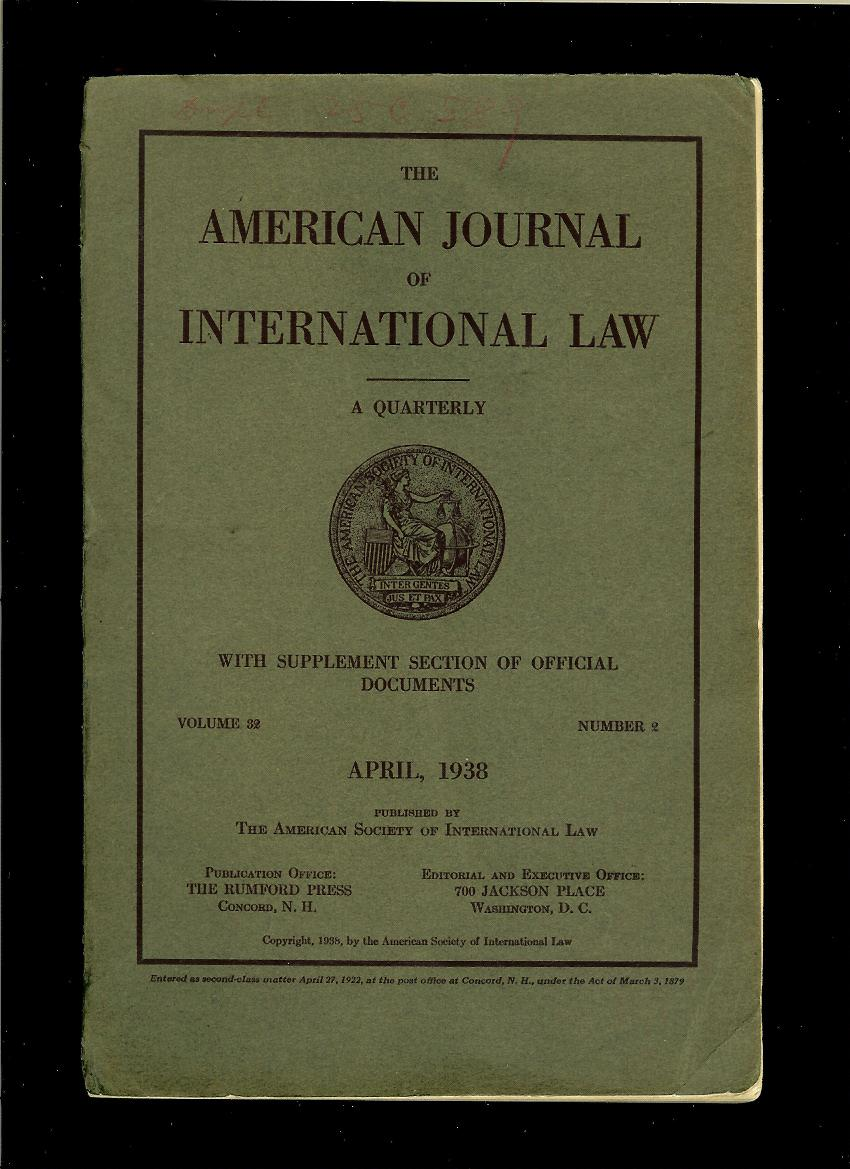 American Journal of International Law. April 1938